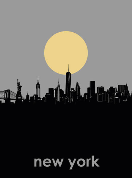 Wall Art - Digital Art - New York Skyline Minimalism 7 by Bekim M