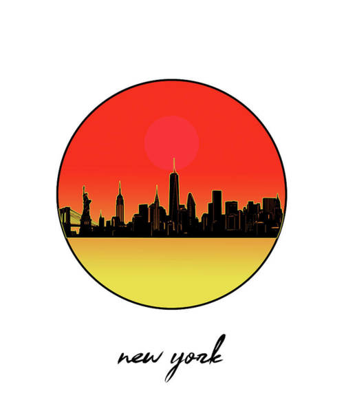 Wall Art - Digital Art - New York Skyline Minimalism 8 by Bekim M