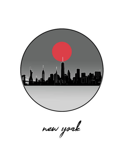 Wall Art - Digital Art - New York Skyline Minimalism 9 by Bekim M