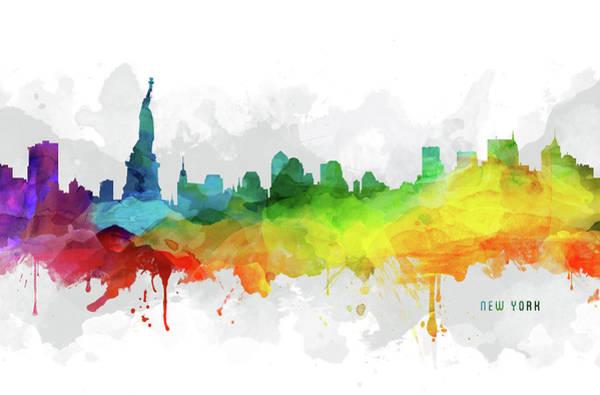 Wall Art - Digital Art - New York Skyline Mmr-usnyny05 by Aged Pixel