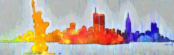 Capitalism Digital Art - New York Skyline Old Shapes 3 - Da by Leonardo Digenio