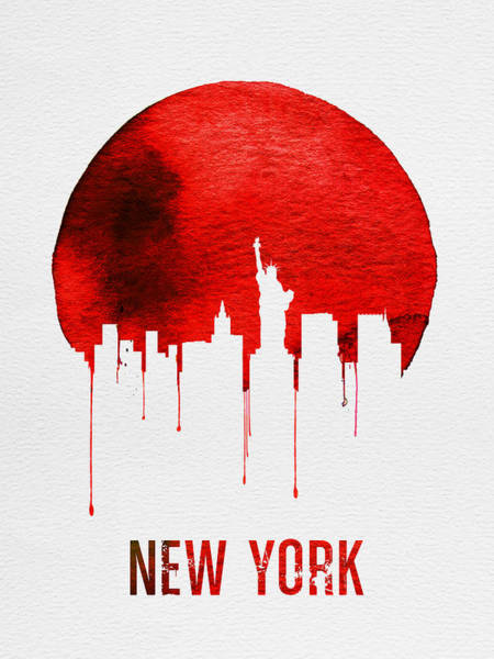 Dreamy Wall Art - Digital Art - New York Skyline Red by Naxart Studio