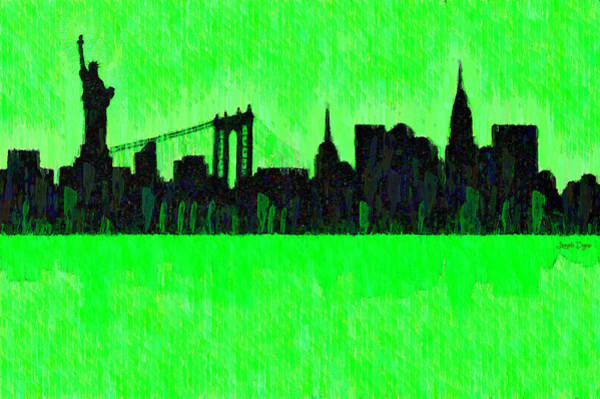 Capitalism Digital Art - New York Skyline Silhouette Green - Da by Leonardo Digenio
