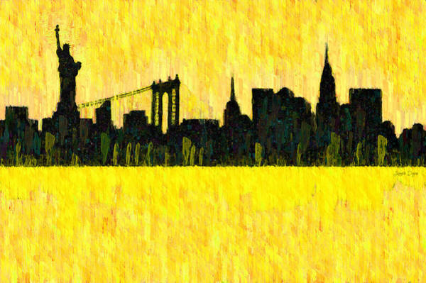 Capitalism Digital Art - New York Skyline Silhouette Orange - Da by Leonardo Digenio