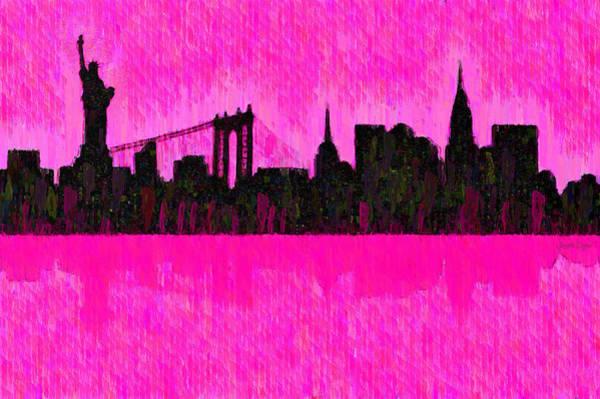 Capitalism Digital Art - New York Skyline Silhouette Pink - Da by Leonardo Digenio