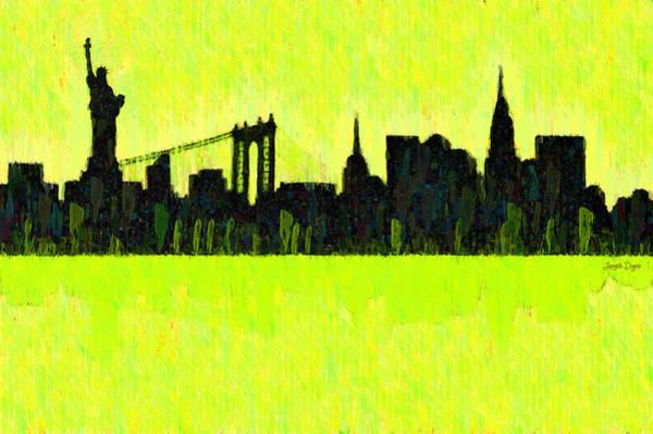 Capitalism Digital Art - New York Skyline Silhouette Yellow-green - Da by Leonardo Digenio