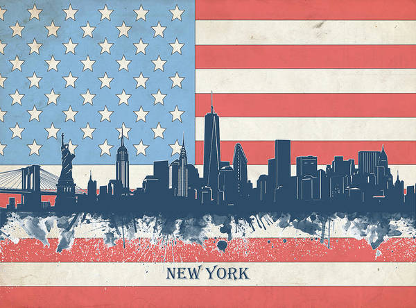 Wall Art - Digital Art - New York Skyline Usa Flag 4 by Bekim M