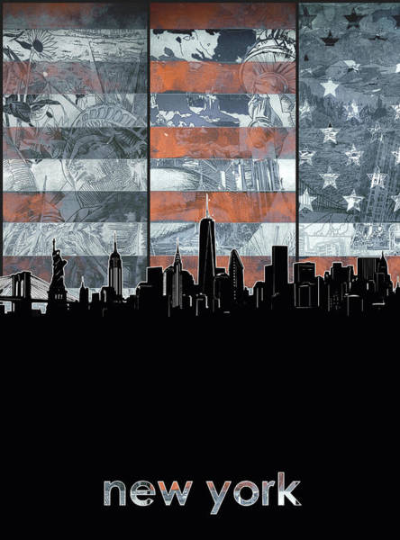 Wall Art - Digital Art - New York Skyline Usa Flag 5 by Bekim M