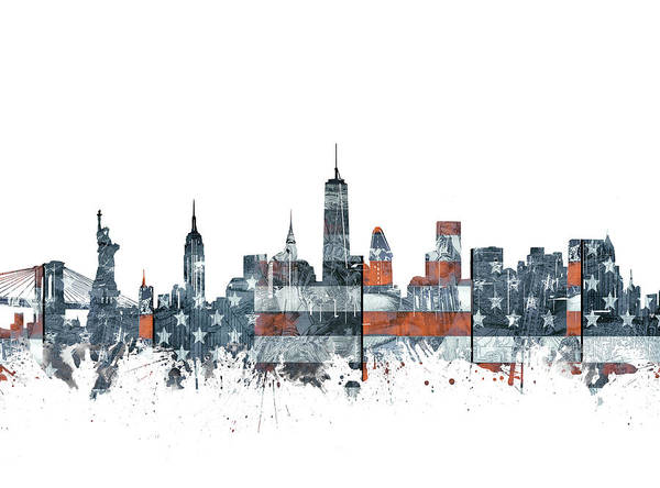Wall Art - Digital Art - New York Skyline Usa Flag by Bekim M