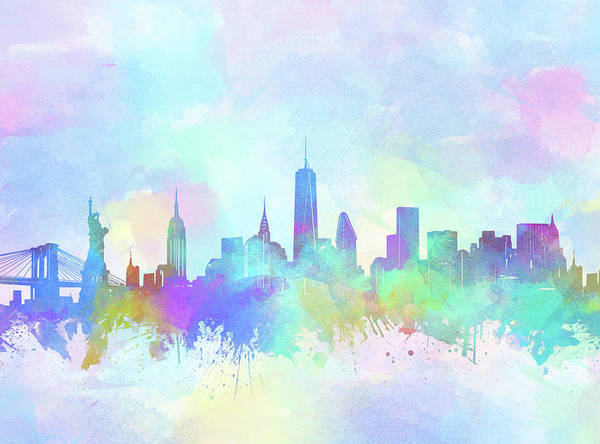 Wall Art - Digital Art - New York Skyline Watercolor 7 by Bekim M