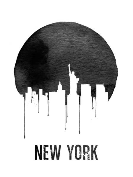 Wall Art - Digital Art - New York Skyline White by Naxart Studio
