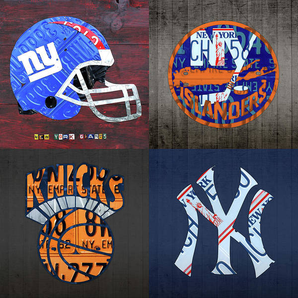 Wall Art - Mixed Media - New York Sports Team License Plate Art Collage Giants Islanders Knicks Yankees by Design Turnpike