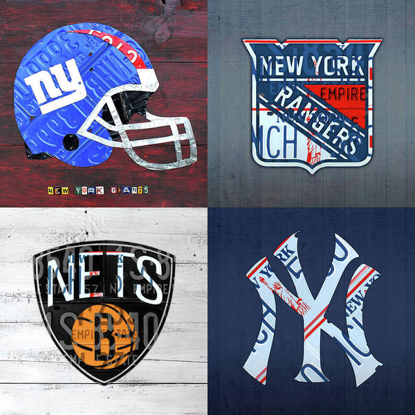 Wall Art - Mixed Media - New York Sports Team License Plate Art Giants Rangers Nets Yankees V4 by Design Turnpike