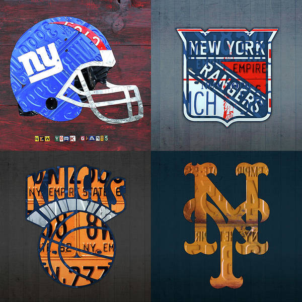 Wall Art - Mixed Media - New York Sports Team Logo License Plate Art Giants Rangers Knicks Mets V8 by Design Turnpike