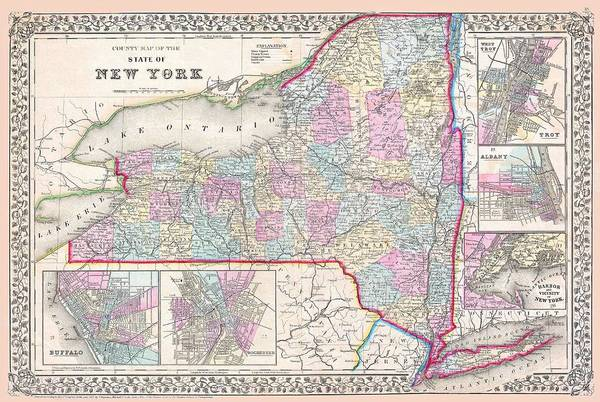 Drawing - New York State 1867 Map by Movie Poster Prints