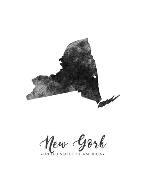 Map Of United States Mixed Media - New York State Map Art - Grunge Silhouette by Studio Grafiikka