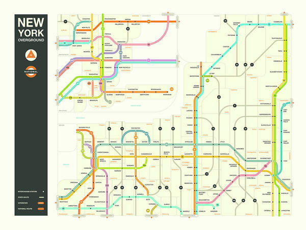 New York Map Digital Art - New York State Overground by Jazzberry Blue