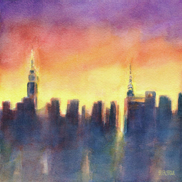 Office Buildings Wall Art - Painting - New York Sunset After The Rain by Beverly Brown
