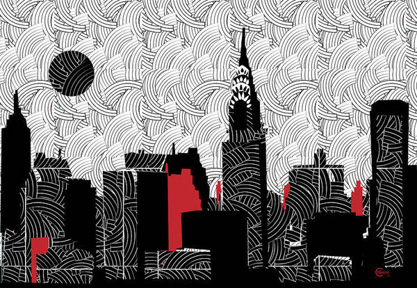 Mixed Media - New York City Skyline Swing  by Cecely Bloom