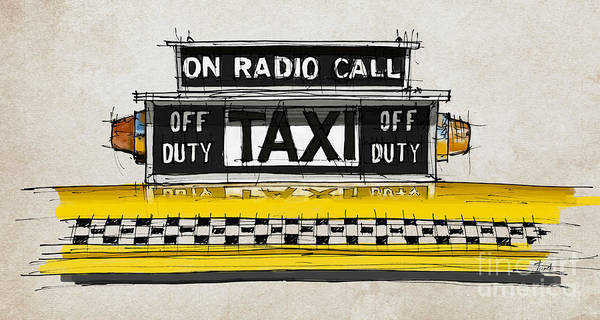 Wall Art - Painting - New York Taxi Sign, Yellow Cab by Drawspots Illustrations