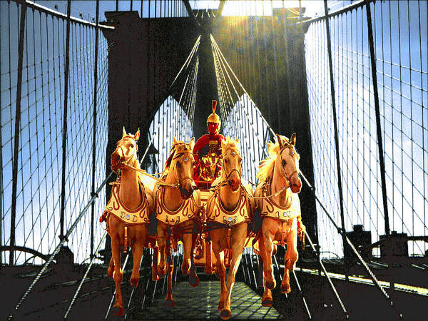 Photograph - New York Brooklyn Bridge Fantasy Collage by Peter Potter