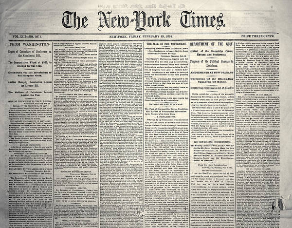 Photograph - New York Times, 1864 by Granger
