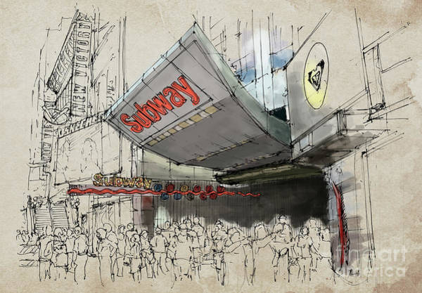 Wall Art - Painting - New York Times Square Subway Sketch by Drawspots Illustrations