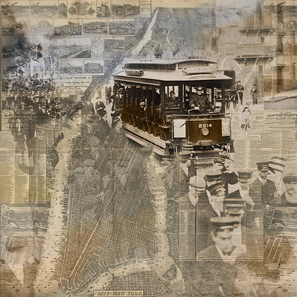 Photograph - New York Trolley Vintage Photo Collage by Karla Beatty