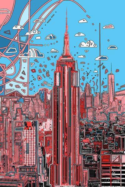 Empire State Building Digital Art - New York Urban Colors 2 by Bekim Art