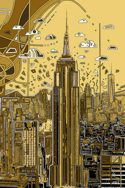 Empire State Building Digital Art - New York Urban Colors 3 by Bekim Art