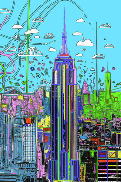 Empire State Building Digital Art - New York Urban Colors by Bekim Art