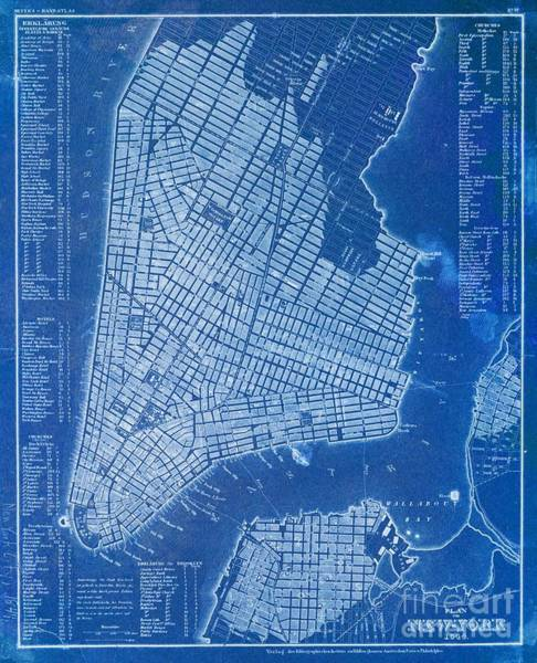 Wall Art - Digital Art - New York Vintage Old Map, Year 1844, Blue Poster by Drawspots Illustrations