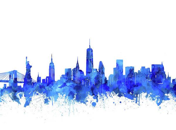 Statue Of Liberty Digital Art - New York Watercolor Blue by Bekim Art