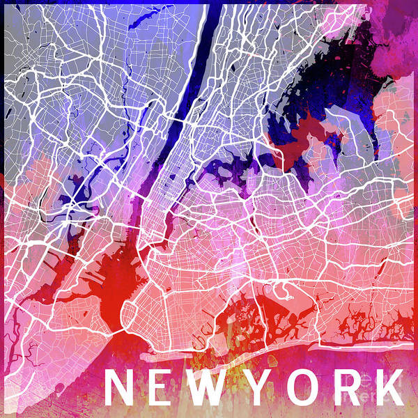 Mapping Digital Art - New York Watercolor by Delphimages Photo Creations