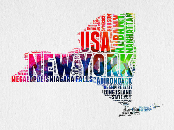 Wall Art - Digital Art - New York Watercolor Word Cloud Map by Naxart Studio