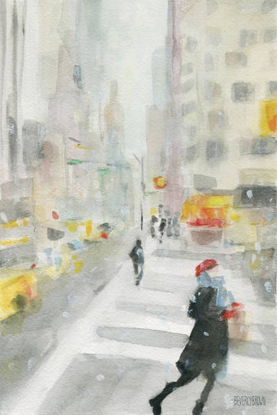 Urban Scene Painting - New York Winter 57th Street by Beverly Brown