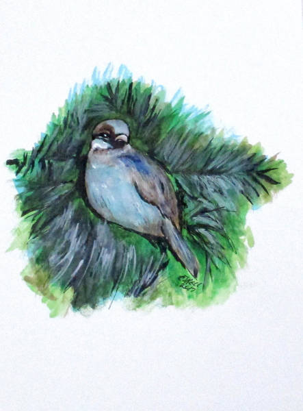Painting - New York Winter Sparrow by Clyde J Kell