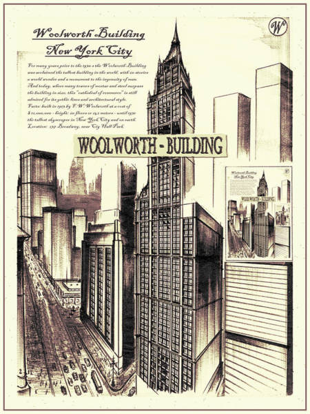 Drawing - New York Woolworth Building 75 by Peter Potter