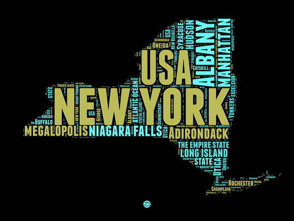 Wall Art - Digital Art - New York Word Cloud Map 1 by Naxart Studio