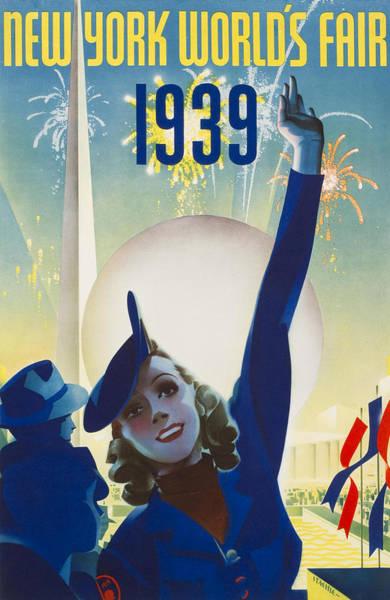 Long Dress Painting - New York, World Fair, Firework, Woman In Blue Dress by Long Shot