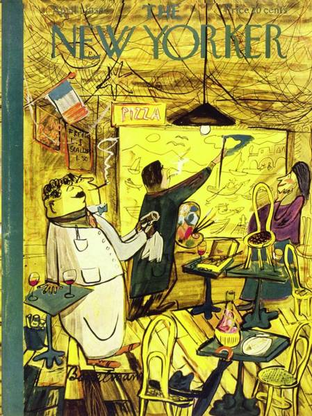 Wine Painting - New Yorker April 1, 1950 by Ludwig Bemelmans