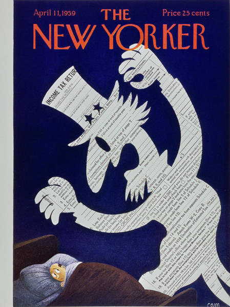 Night Painting - New Yorker April 11 1959 by Charles Martin