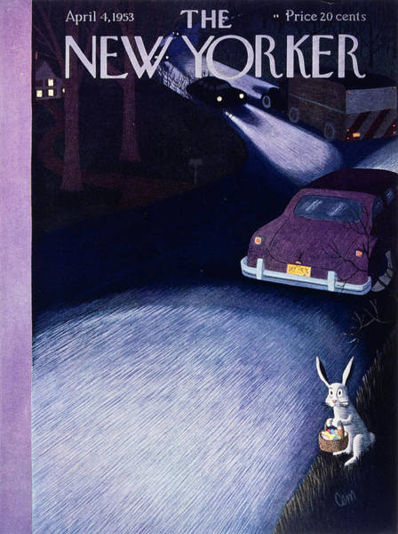 Night Painting - New Yorker April 4 1953 by Charles Martin