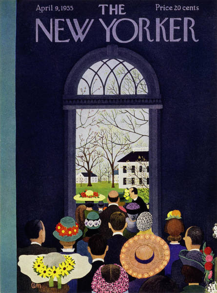 Town Painting - New Yorker April 9 1955 by Charles Martin