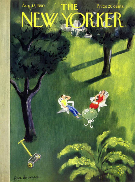 Table Painting - New Yorker August 12 1950 by Roger Duvoisin