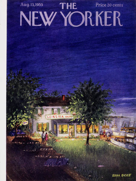 Restaurant Painting - New Yorker August 13 1955 by Edna Eicke