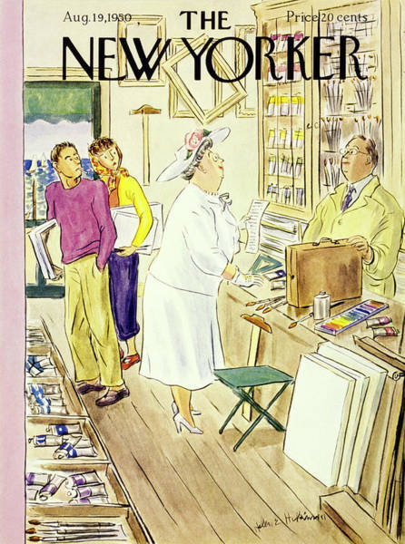 Students Painting - New Yorker August 19 1950 by Helene E Hokinson