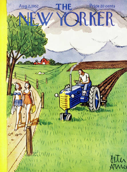 Farmer Painting - New Yorker August 2 1952 by Peter Arno
