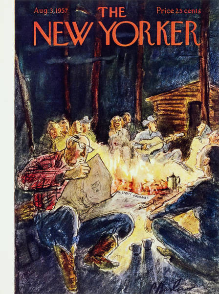 Reading Painting - New Yorker August 3 1957 by Perry Barlow