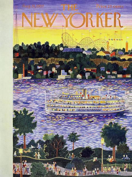 River Painting - New Yorker August 31 1957 by Ilonka Karasz